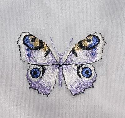 Abito bimba in cotone e seta ricamo farfalla viola