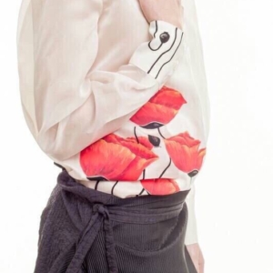 Camicia 100% bambù con organza di seta trasparente